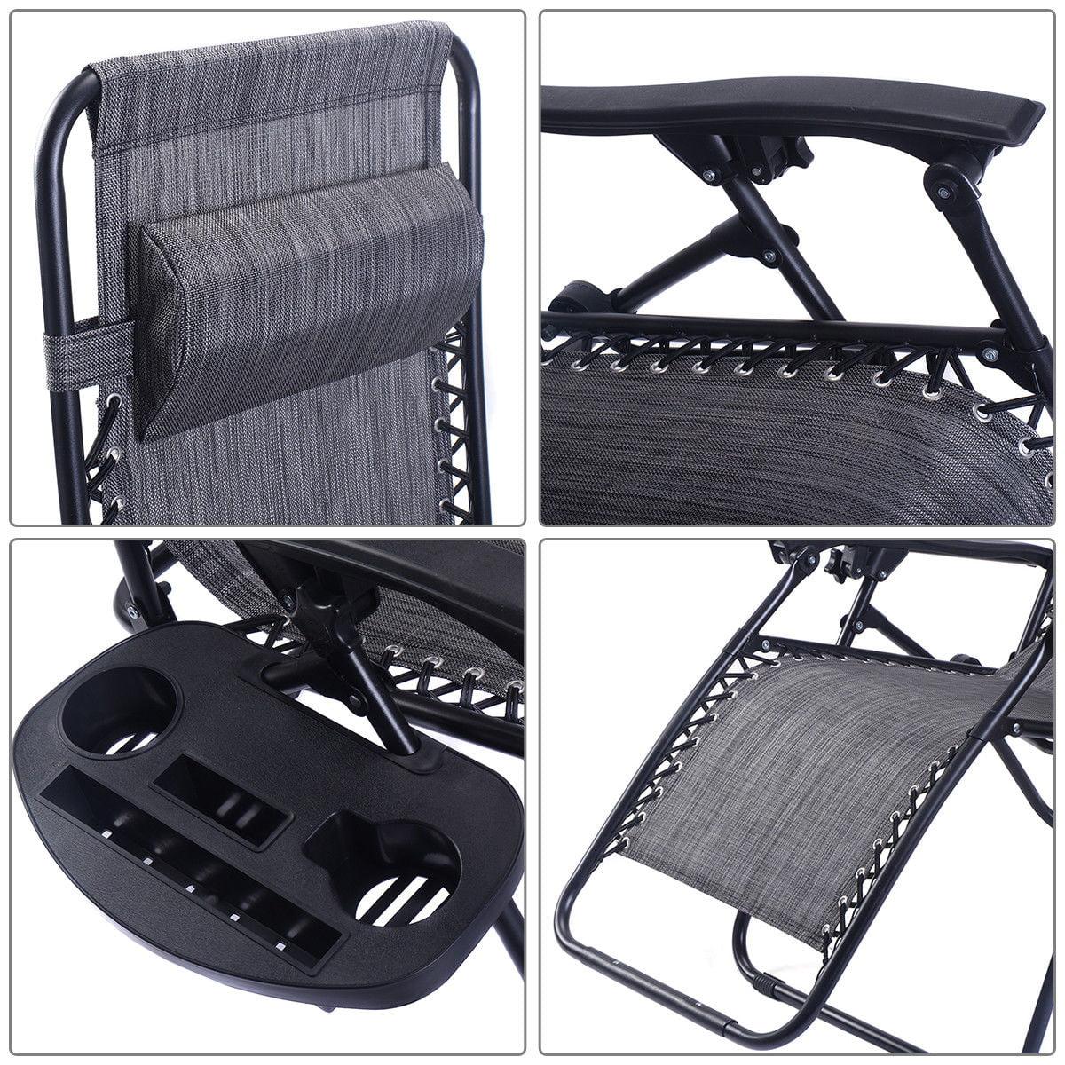 2PC Folding Zero Gravity Reclining Lounge Chairs Beach Patio W/ Utility Tray - image 5 of 8