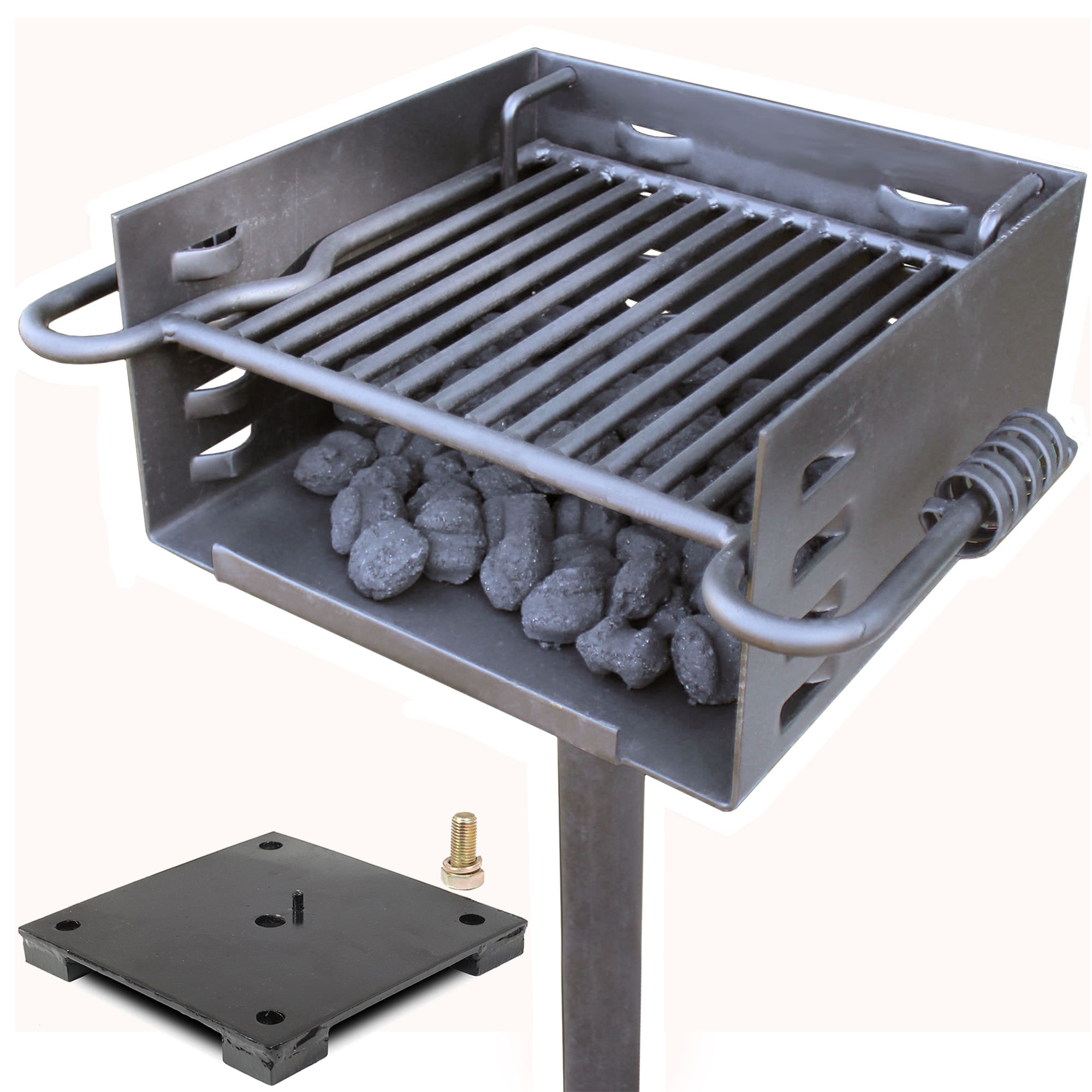 Titan Single Post Park Style Grill Charcoal Grill w Base Anchor BBQ Heavy Camp by Titan Attachments