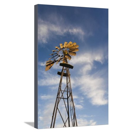 Vintage Farm Windmills at Sunset, Elk City, Oklahoma, USA Stretched Canvas Print Wall Art By Walter Bibikow (Usa Windy City)
