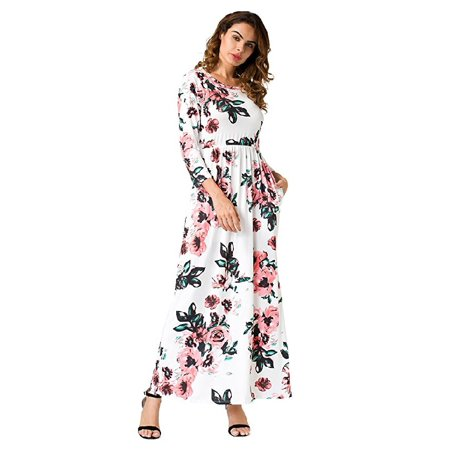 DYMADE Mommy and Me Floral Print 3/4 Sleeve Boho Dress Ladies Girls Evening Party Long Maxi Dress