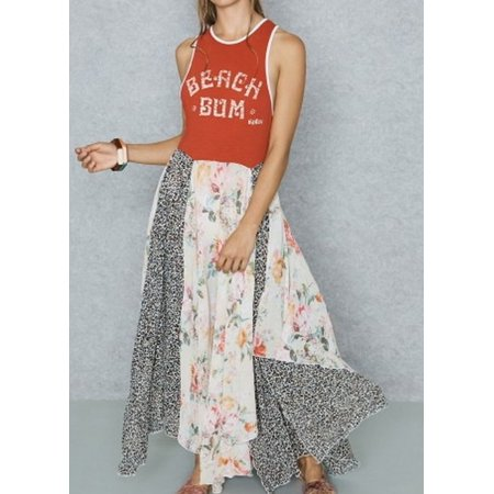 Free People NEW Red Beach Bum Floral Animal Printed XS Maxi Dress