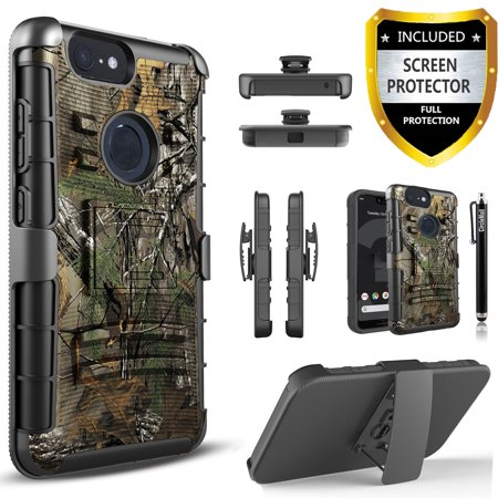 Google Pixel 3 XL Case, Dual Layers [Combo Holster] And Built-In Kickstand Bundled with [Temerped Glass Screen Protector] Hybird Shockproof And Circlemalls Stylus Pen