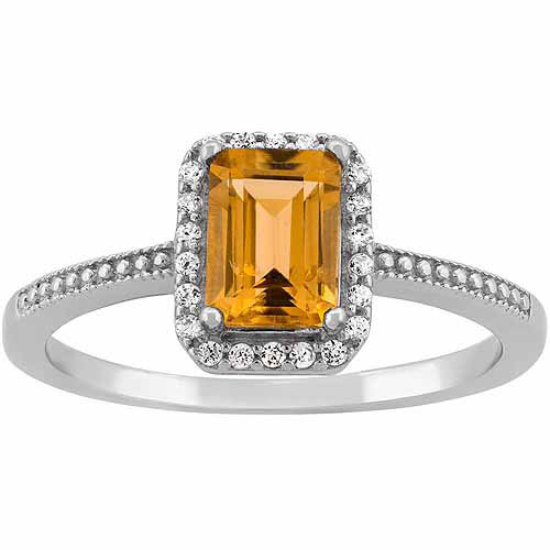 Citrine and CZ Sterling Silver Emerald-Cut Halo Ring