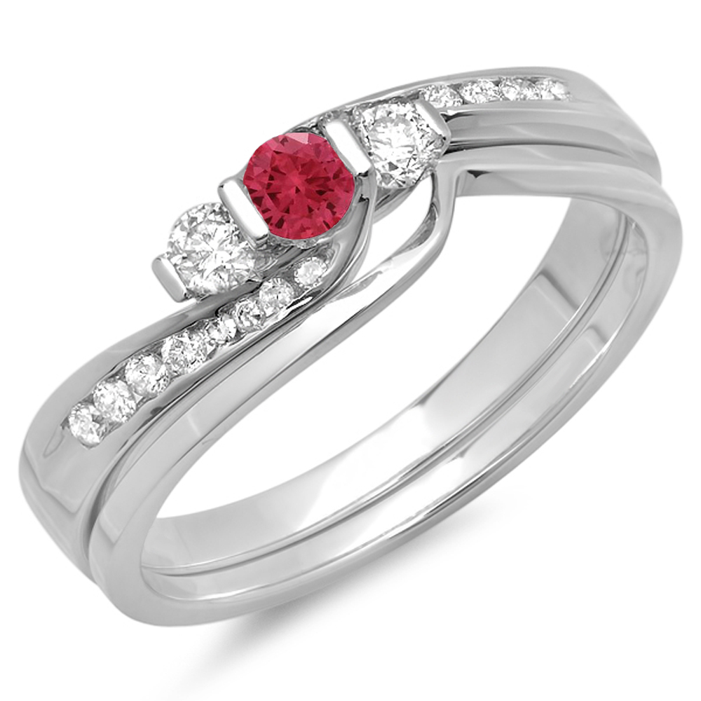 Dazzling Rock 14K Gold Ruby & White Diamond Bridal 3 Ston...