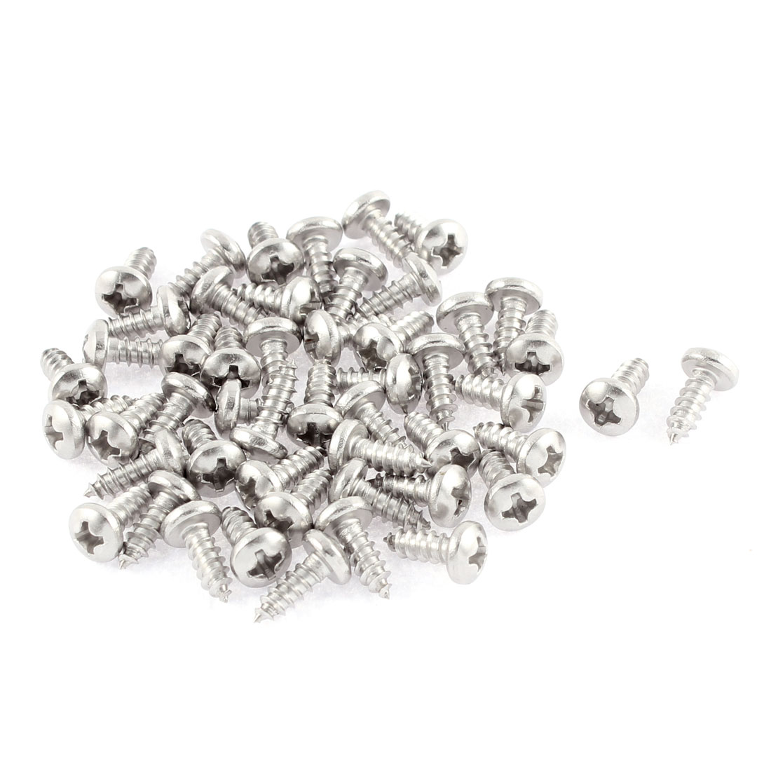 50 Pcs 3.5mmx9.5mm Stainless Steel Phillips Round Head Sheet Self Tapping Screws