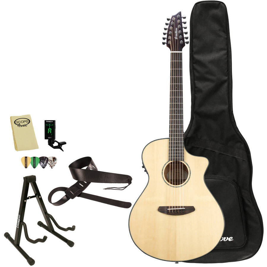 Breedlove Pursuit 12 String Acoustic Electric Guitar with Breedlove Gig Bag and ChromaCast Accessories