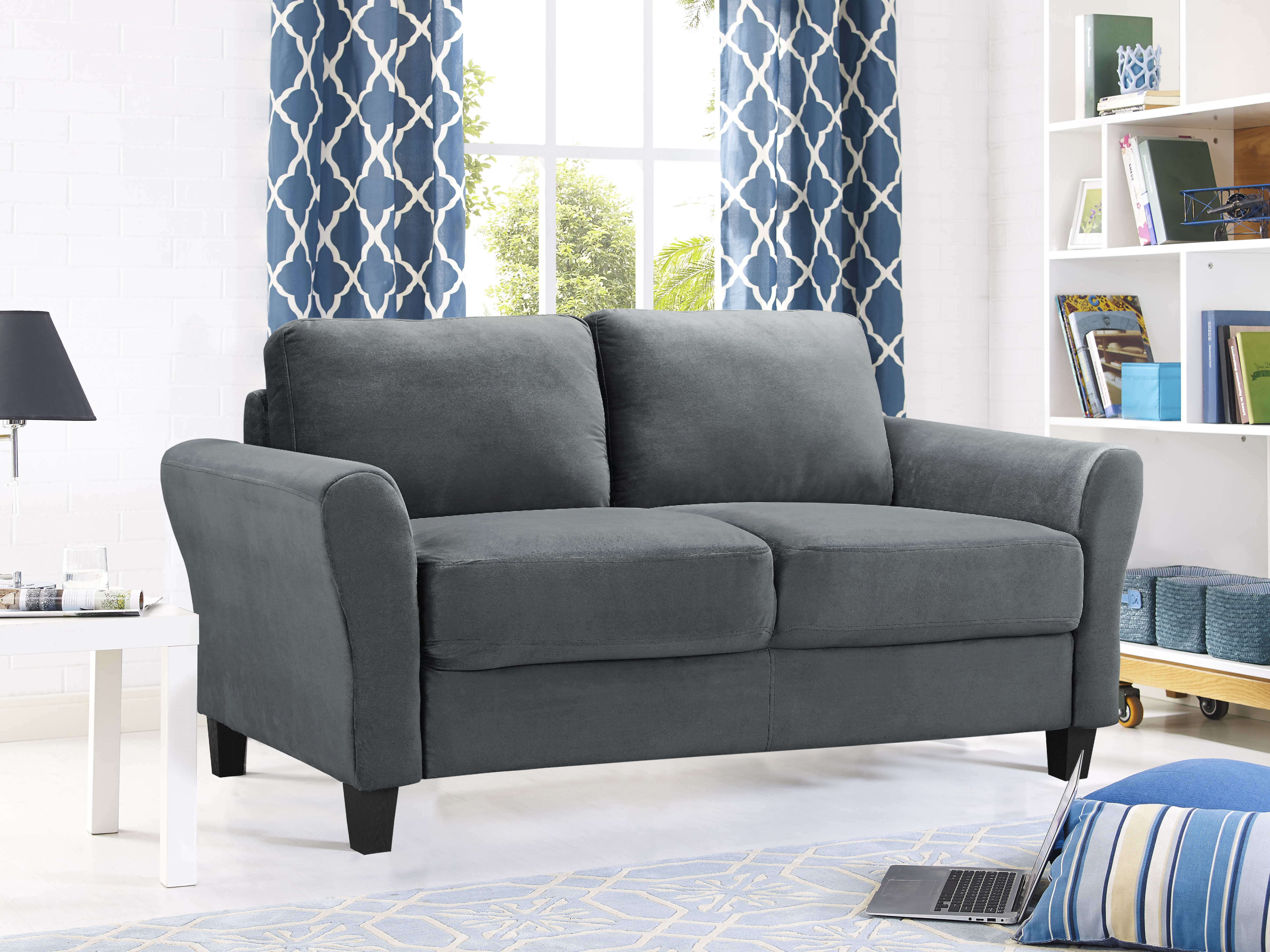 33a2ad46a2 Lifestyle Solutions Alexa Rolled-Arm Upholstered Fabric Loveseat, Multiple  Colors - Walmart.com