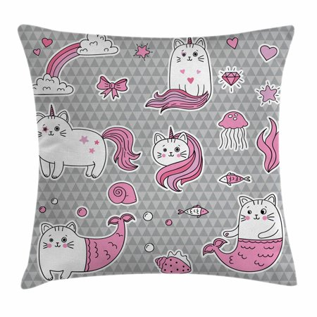 Unicorn Cat Throw Pillow Cushion Cover, Cute Cat Unicorn and Mermaid Fishes Bubbles Hearts Underwater Theme, Decorative Square Accent Pillow Case, 16 X 16 Inches, Grey Pale Pink White, by Ambesonne (Mermaid Themed Gifts)