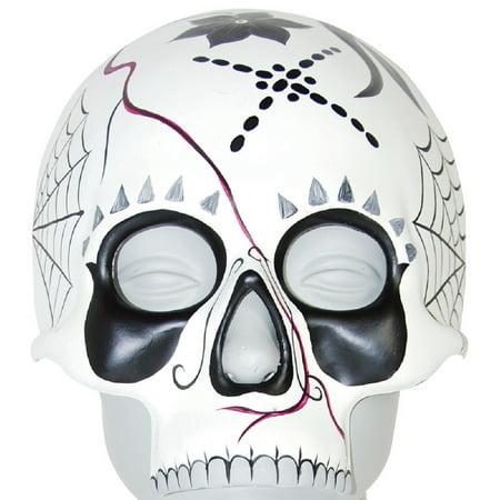 Half Zip Face Halloween (Day Of The Dead Sugar Skull Half Face Mask Aranas Dia De Los Muertos)