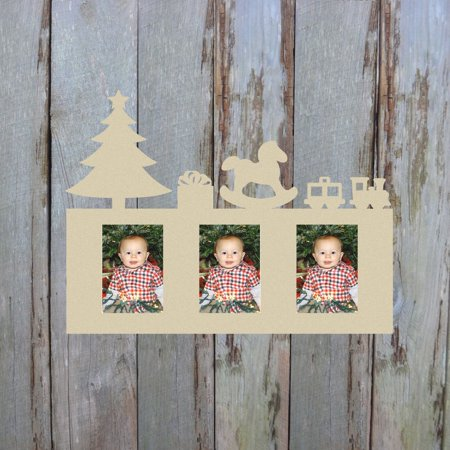 Christmas Photo Picture Frame Unfinished, DIY 4x6 Wood Frame ()