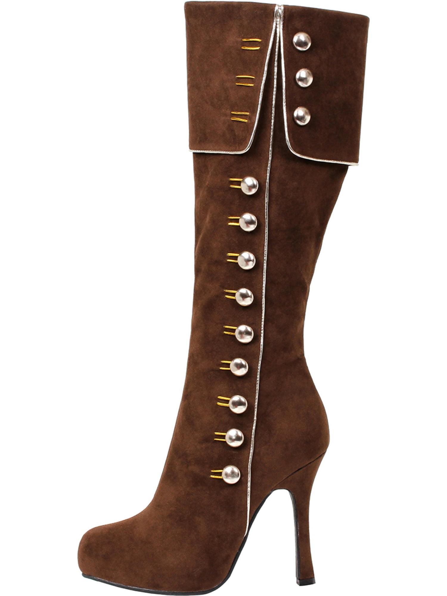 Women's 4 Inch Heel Knee Zipper High Costume Boot Side Zipper Knee Button Detail Brown f3d2b6