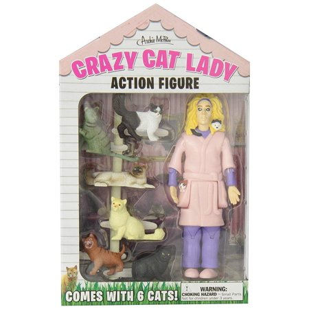 12470 Crazy Cat Lady Action Figure Set, Multicolor,Walmartes in illustrated window box By Accoutrements - Crazy Action Contraptions