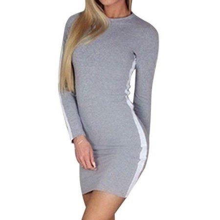 Long Sleeve Mini Skirt (Fashion womens casual long-sleeved dress mini beach)