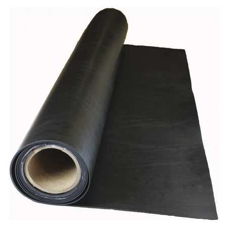 "E. JAMES 1/8"" 2-Ply Cloth Inserted Neoprene Rubber Sheet, 36""x5 ft., Black, 60A, 7710-1/8NEO2-5"