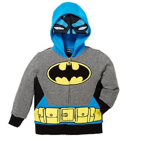 Batman Hoodie Mask (Superhero Little Boys Zip-Up Fleece Hoodie With Mesh Mask - BATMAN -)