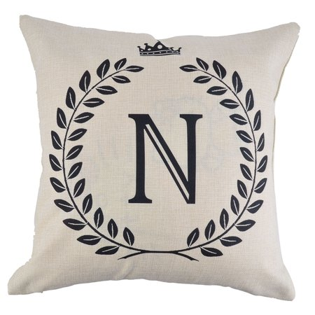 Home Cotton Linen Letter N Pattern Zippered Pillow Cushion Cover 18 x 18