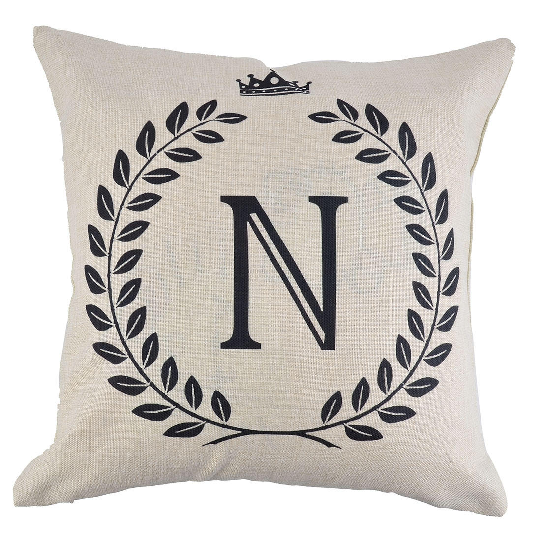 Home Cotton Linen Letter N Pattern Zippered Pillow Cushion Cover 18 x 18 Inches
