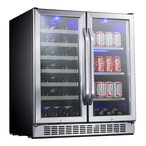 EdgeStar 30-Inch Built-In Wine and Beverage Cooler with French Doors - Stainless Steel and Black
