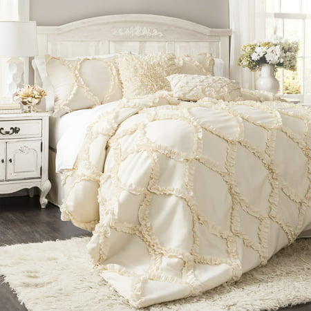 Avon Ogee Texture Comforter Set (King) Ivory 3pc - Lush Décor