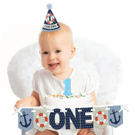 Ahoy - Nautical 1st Birthday - First Birthday Boy Smash Cake Decorating Kit - High Chair - Nautical Cakes