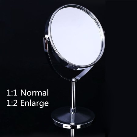 Table Vanity Mirror (Stainless steel Metal Double Sided 360 Degree Table Standup Swivel Vanity Mirror Normal/2x Magnification Makeup Standing Mirrors  Chrome)