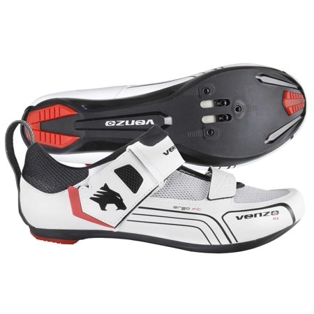 Venzo Cycling Bicycle Triathlon Road Bike Shoes For Shimano SPD SL Look White 48