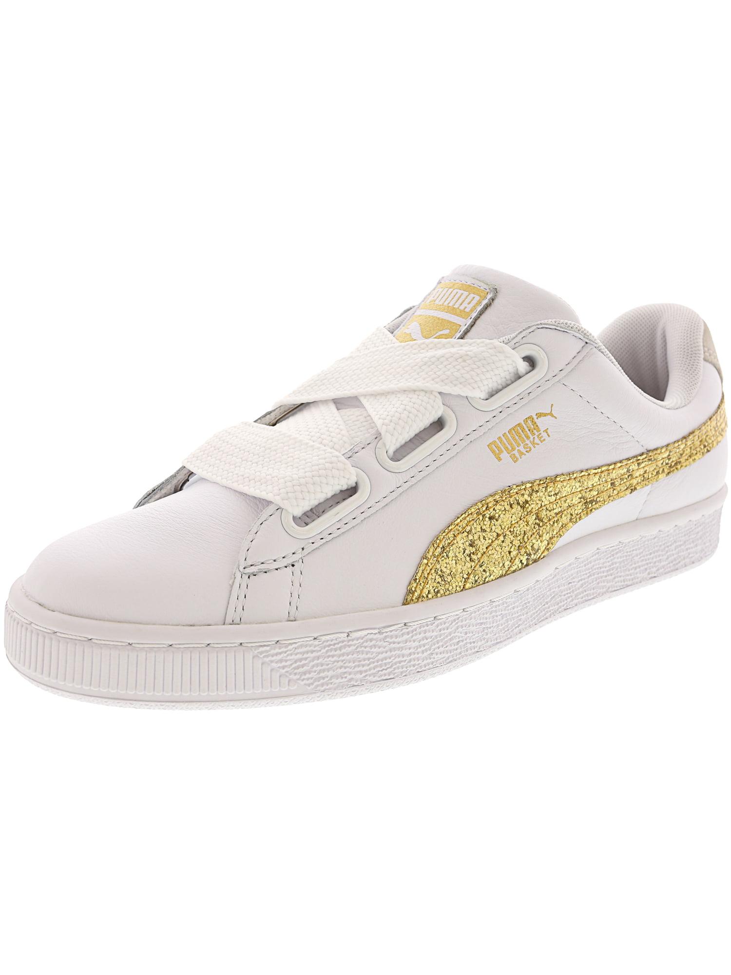 Puma Women's Basket Heart Glitter Fashion Sneaker - 9M - Puma White - Gold