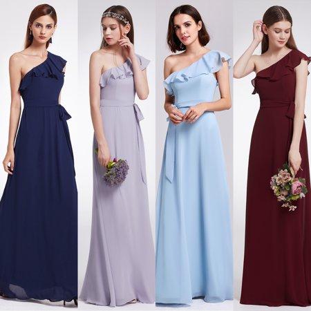 3ad6d1ceb7 Ever-pretty - Ever-Pretty Womens Elegant Long Maxi Ruffled One Shoulder Chiffon  Summer Beach Wedding Guest Bridesmaid Dresses for Women 07211 Burgundy US  10 ...
