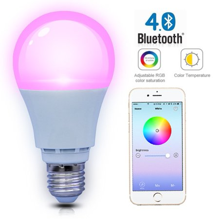 SHYU Smart Bluetooth Led Light Bulb- Smartphone Controlled Dimmable -Works with iPhone, iPad, Android Phone and Tablet (E26 Base 6000K,40 Watt Equivalent) ()