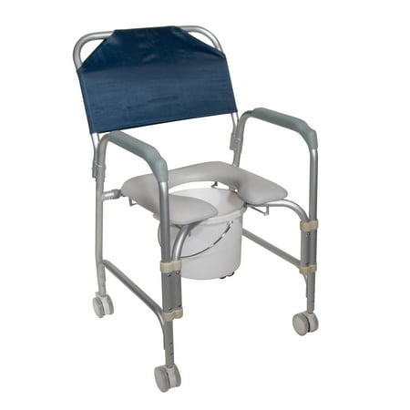 (Drive Medical Lightweight Portable Shower Commode Chair with Casters)