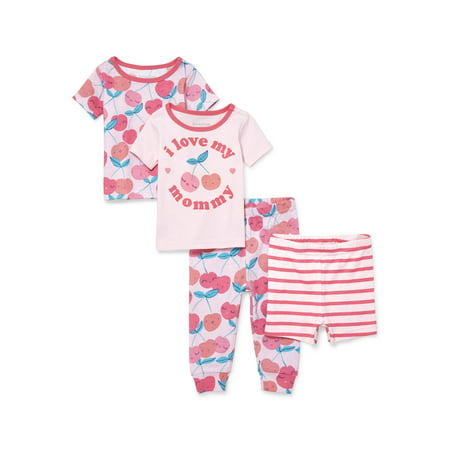 Baby And Toddler Girl 'I Love My Mommy' Cherry Print 4-Piece Snug-Fit PJ Set (Baby and Toddler Girls)