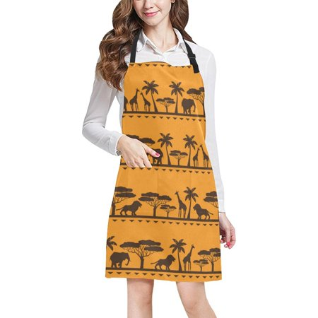 ASHLEIGH Giraffes Lions And Trees Women Men Kitchen Apron Adjustable Bib Apron Front Pockets Perfect For Cooking