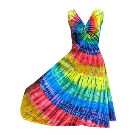 Women's Tie Dye Sleeveless V-Neck Knot Twist Tank Dress Summer Sundress Twist Tank Dress