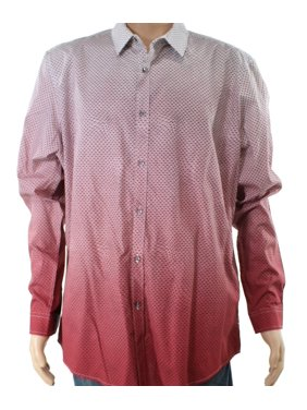 81c76080 Product Image INC White Mens Small Ombre Geo Print Button Down Shirt