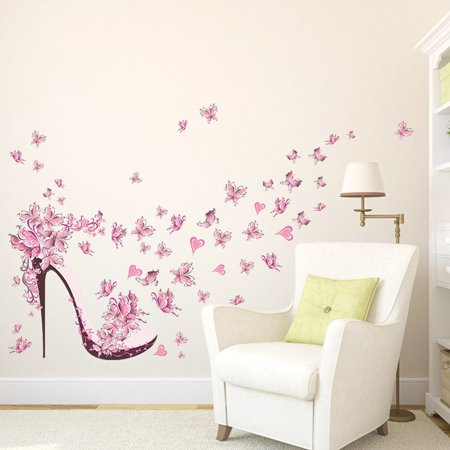 Joyfeel Clearance High Heels With Butterflies DIY Wall Stickers Creative Art Decals for Bedroom Decoration