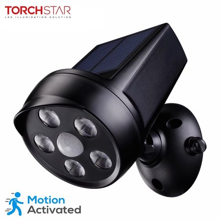 TORCHSTAR LED Solar Motion Sensor Lights, Outdoor Solar Security Lights, Black (Led Stake Light Solar Motion)