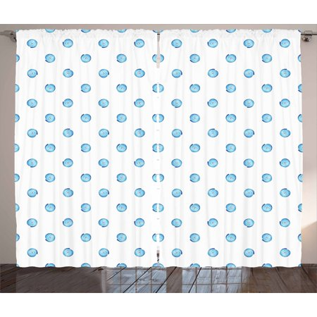 Shell Curtains 2 Panels Set, Soft Aqua Tone Watercolor Illustration of Moon Snail Shell Figures, Window Drapes for Living Room Bedroom, 108W X 108L Inches, Cobalt Blue White Pale Blue, -