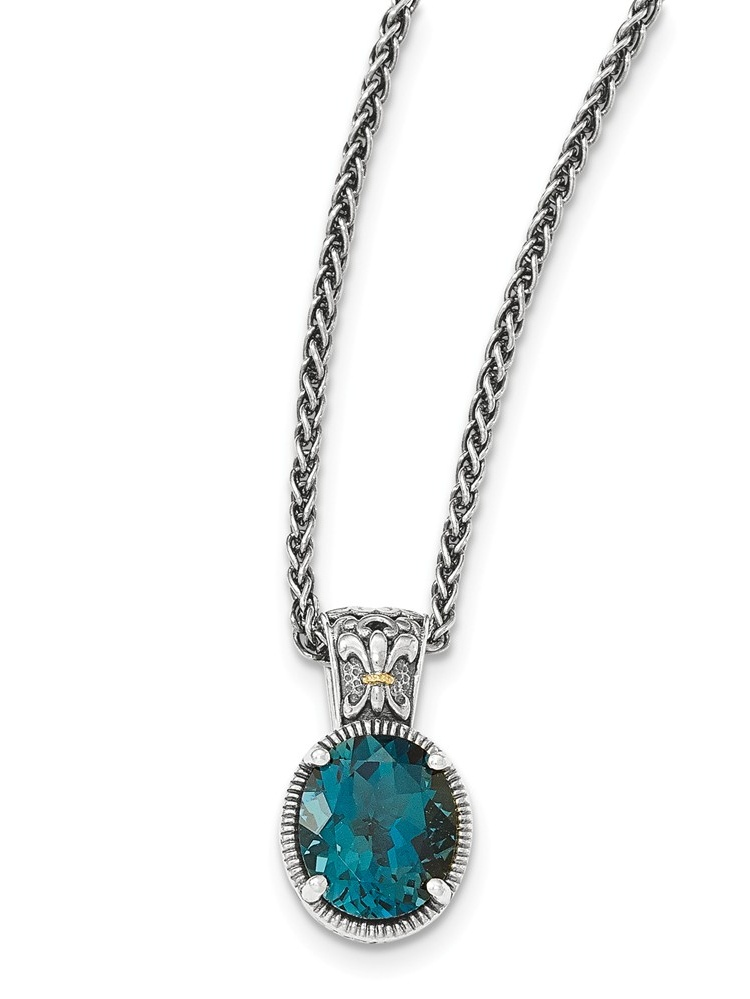 Sterling Silver With 14k London Blue Topaz Necklace 5.90 cwt by Jewelryweb