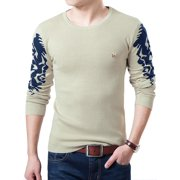 Men's Novelty Prints Round Neck Pullover Casual Knit Shirt (Size S / 36)