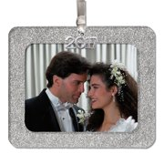 2020 Magnetic Glitter Christmas Photo Frame Ornament with Non-Glare Photo Protector, Horizontal - Silver