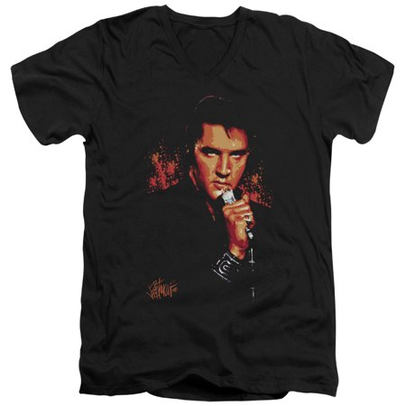 Elvis Presley The King Rock on the Microphone Adult V-Neck T-Shirt Tee (Elvis Presley Microphone)