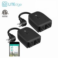 LITEdge Waterproof Smart Plug, 2-in-1 Smart Outlet Socket, Only Supports 2.4GHz Network, Not Supports 5GHz, Pack of 2