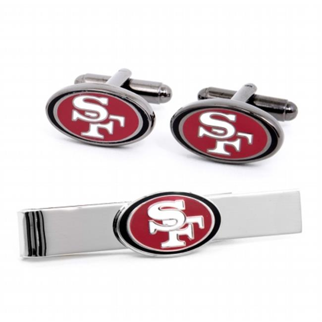 Gift Set PD-49R-CT San Francisco 49er s Cufflinks and Tie Bar Gift Set