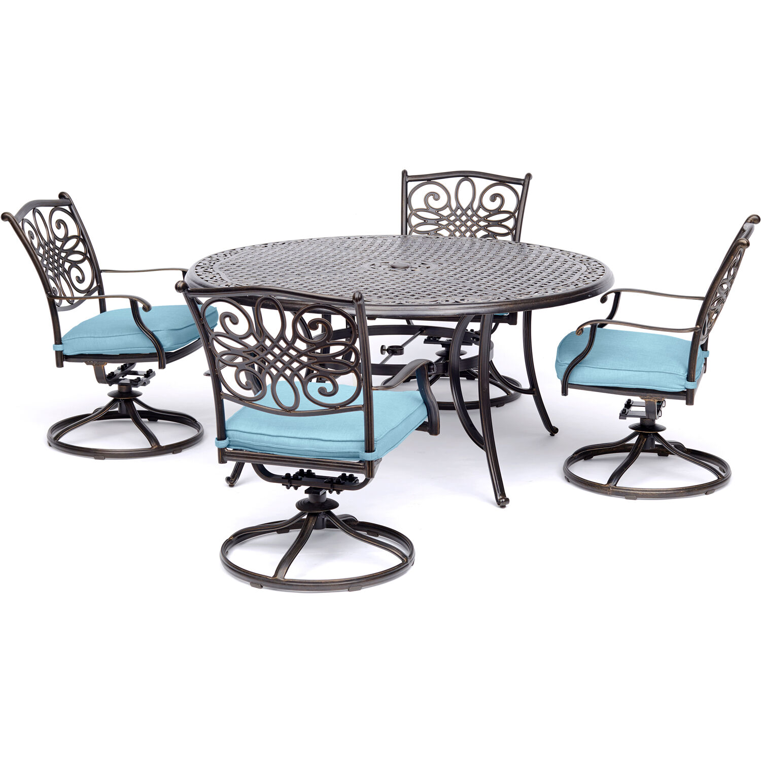 Hanover Outdoor Traditions 5-Piece Dining Set with 4 Swivel Rockers, Ocean Blue