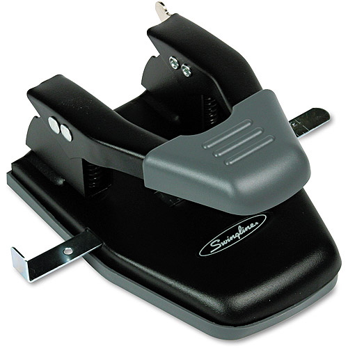 "Swingline 28-Sheet Comfort Handle Steel Two-Hole Punch, 1/4"" Holes, Black"