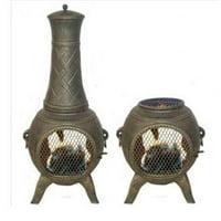 Deeco Consumer Products DM-6035J-AA Western Basket Weave Jr.  Aluminum Chiminea