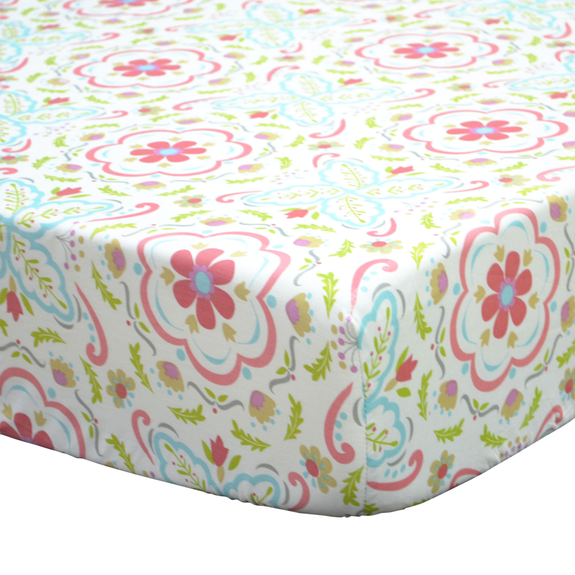 The Peanut Shell Baby Girl Crib Sheet - Coral and Aqua Floral - Gia Collection