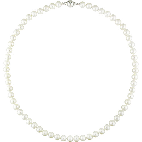 Miabella 7-7.5mm White Cultured Freshwater Potato Pearl Sterling Silver Women's Necklace, 18