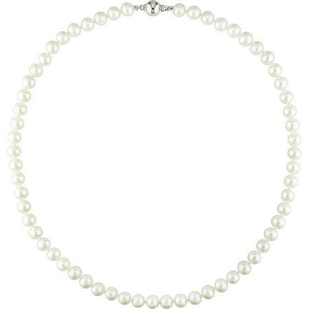 Miabella 7-7.5mm White Cultured Freshwater Potato Pearl Sterling Silver Women's Necklace, - Fake Pearl Necklaces Bulk