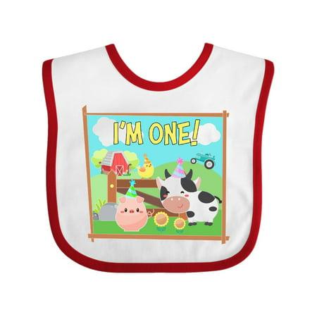 1st Birthday Hat And Bib (I'm One! Farm Animals Wearing Birthday Party Hats Baby)
